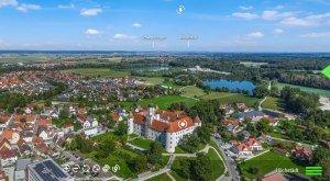 Digitale Panoramatour von multimaps 360: Blick über Schloss Höchstädt und die Donau. © multimaps360.de