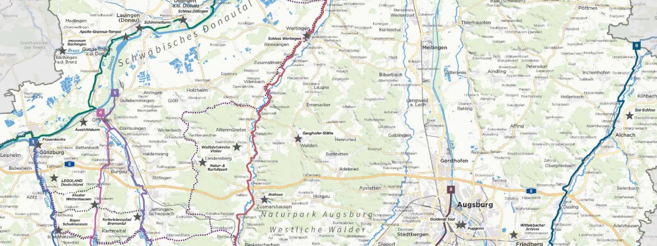Übersicht über alle Radwege und Radrouten in Bayerisch-Schwaben in Bayern. © Tourismusverband Allgäu/Bayerisch-Schwaben e. V.