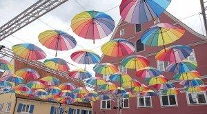Regenschirme über der Insel Ried in Donauwörth. © Petra Held