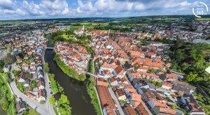 Digitale Panoramatour von multimaps 360: Blick über Donauwörth, die Reichsstraße und die Insel Ried. © multimaps360.de