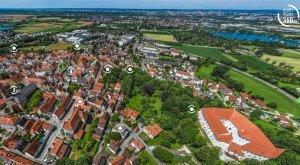 Digitale Panoramatour von multimaps 360: Blick über Friedberg, den Marienplatz und das Schloss. © multimaps360.de