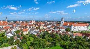 Digitale Panoramatour von multimaps 360: Blick über das Schloss in Dillingen an der Donau und die Altstadt. © multimaps360.de